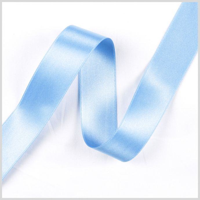 Blue Double Face French Satin Ribbon - 1