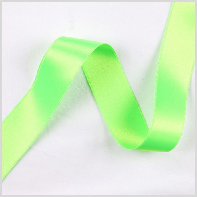 3/8 Neon Green Double Face French Satin Ribbon