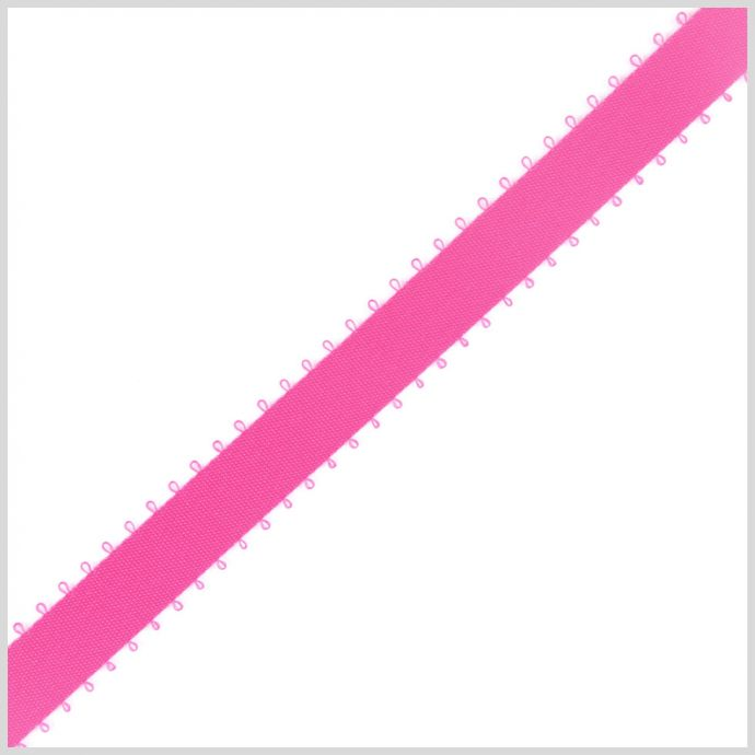 3/8 Shocking Pink Double Face Feather Edge Satin Ribbon
