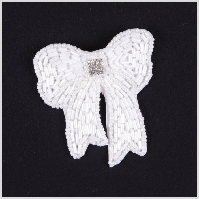 White Beaded Bow Brooch