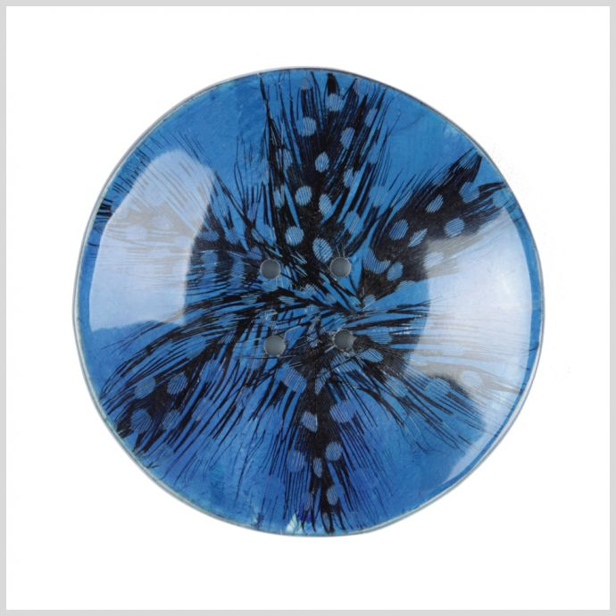 70mm Blue Feather Button