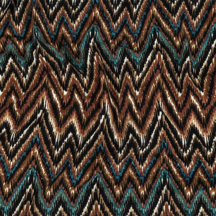 Lyons Blue, Madder Brown, and Black Chevrons Stretch Rayon Jersey