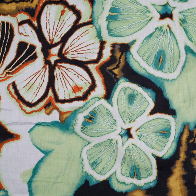 Nile Green and Black Cotton Floral Printed Woven