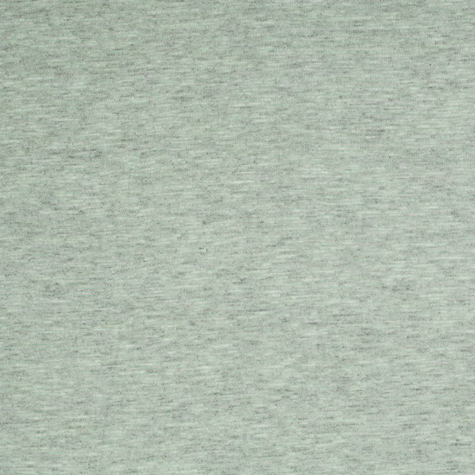 Heathered Gray and Patina Green Striped Cotton-Polyester Jersey