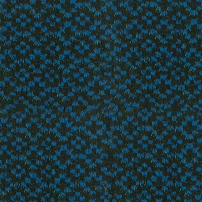 Famous NY Designer Brilliant Blue Wool-Polyester Boucle
