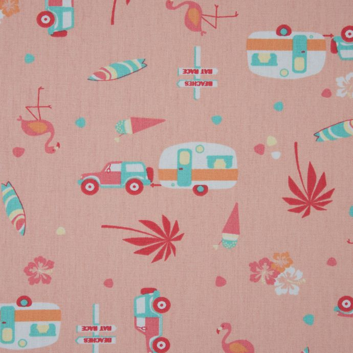 Scallop Shell/Persimmon Printed Trailers, Palm Trees, Ice Cream and Flamingos on Organic Cotton Poplin
