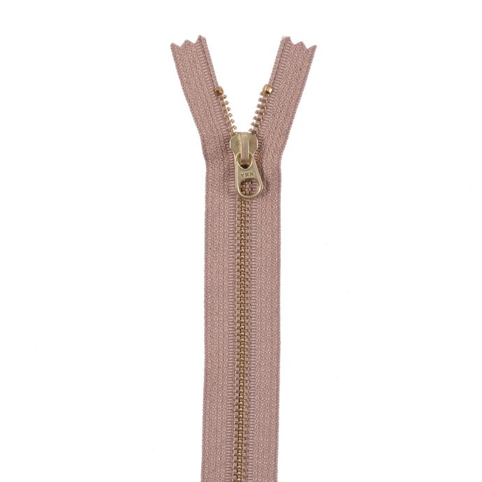 Tan Metal Zipper with Gold Pull and Teeth - 8