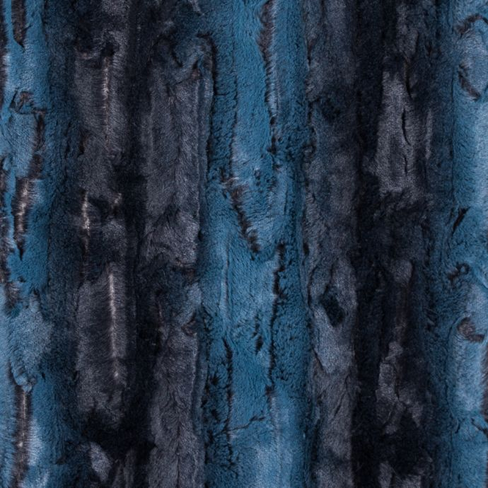 Teal and Black Printed and Embossed Stretch Faux Fur