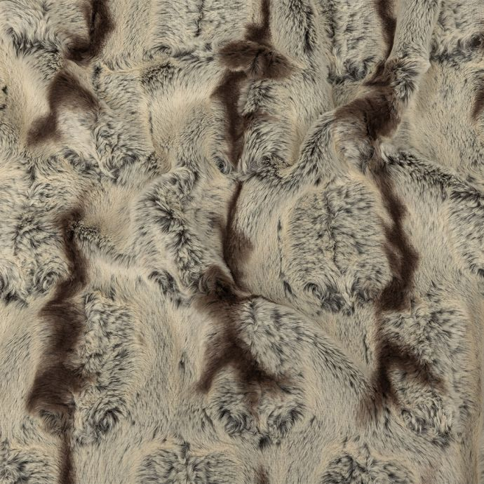 Ivory and Brown Silky Embossed Stretch Faux Fur