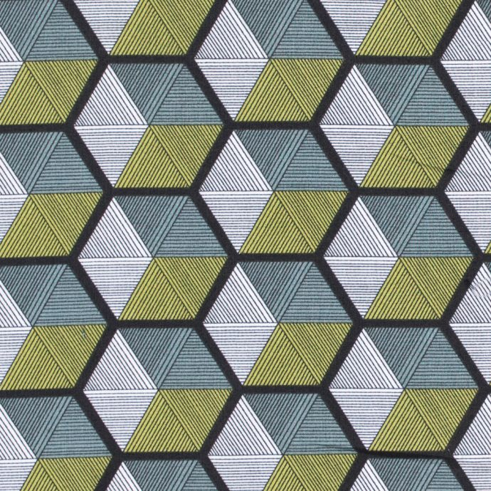 Green and White Striped Hexagon Printed Cotton Woven