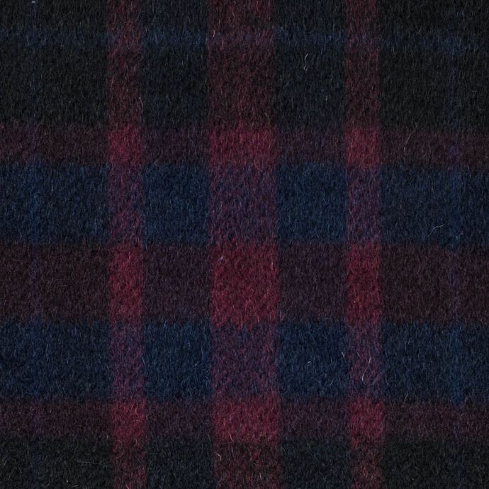 Patriot Blue and Beet Red Plaid Mohair Twill