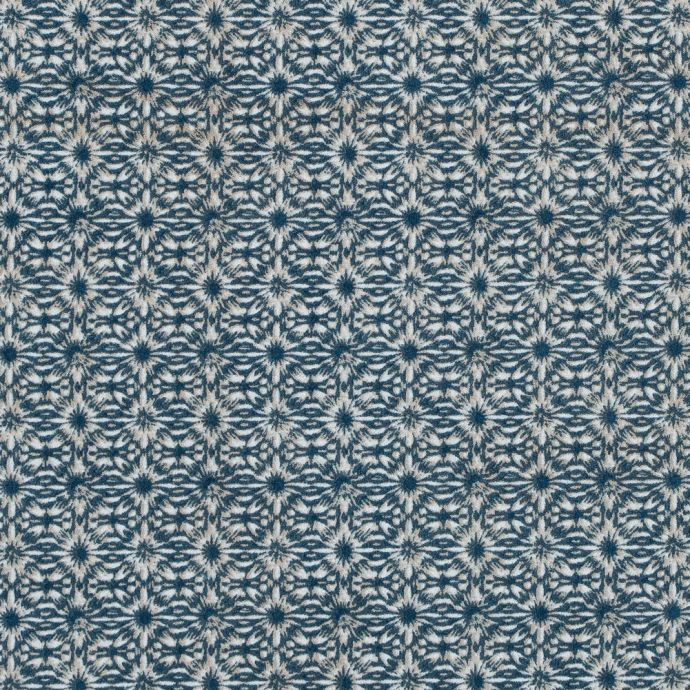 Blue Coral and Oxford Tan Diamond Printed Polyester Crepe