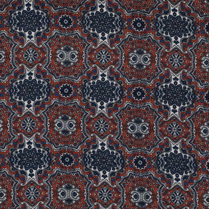 Rust and Ensign Blue Mandala Floral Polyester Print