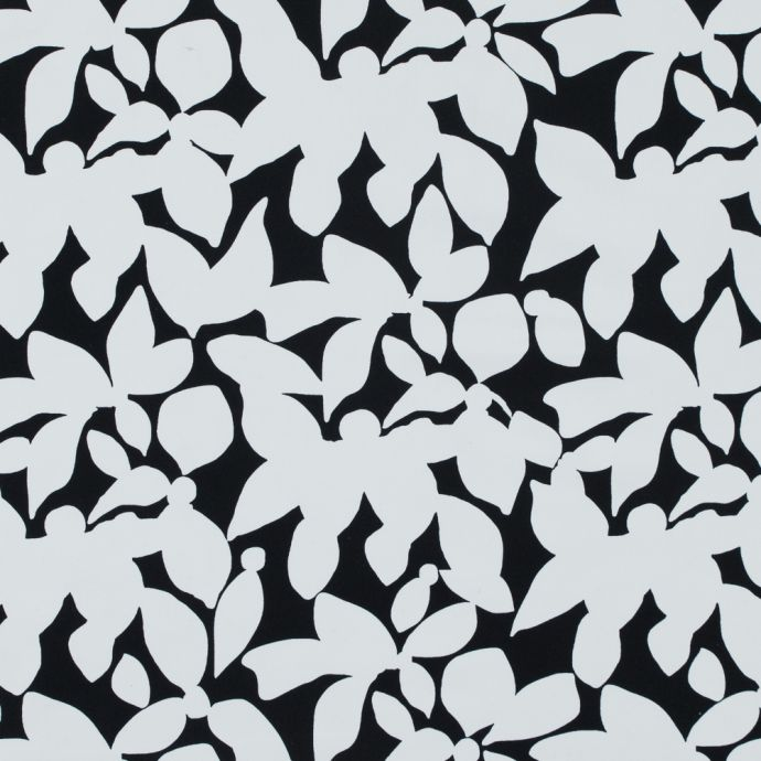 Black and White Floral Printed Polyester Jersey