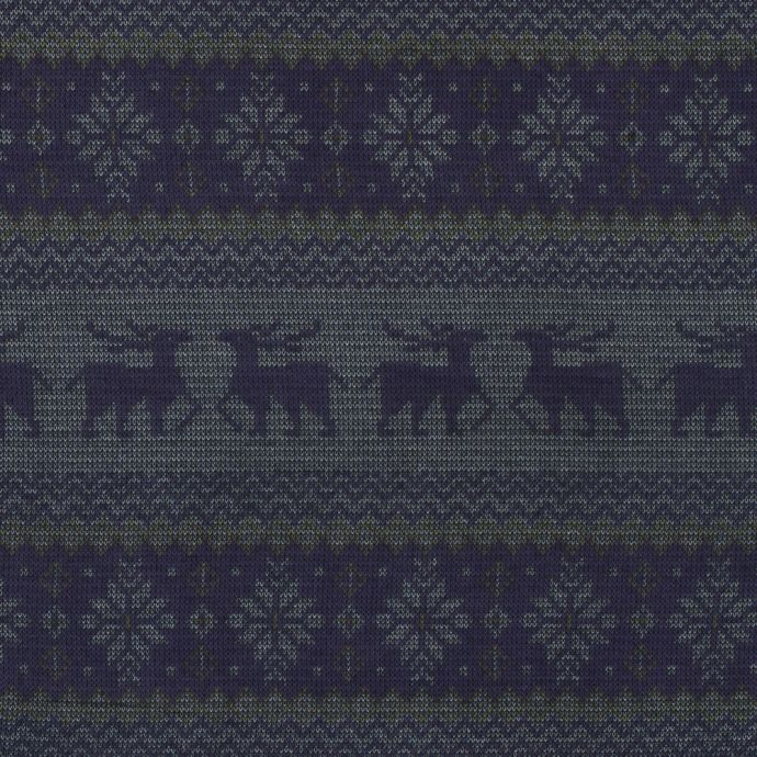 Imperial Purple Reindeer and Snowflake Knit Printed Polyester Chiffon