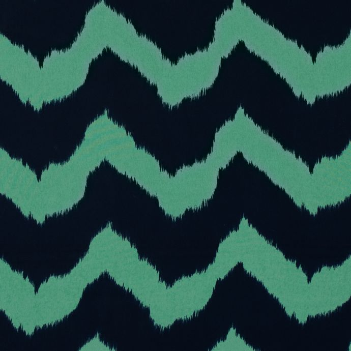 Navy and Spring Bouquet Zig Zag Ikat Printed Polyester Chiffon