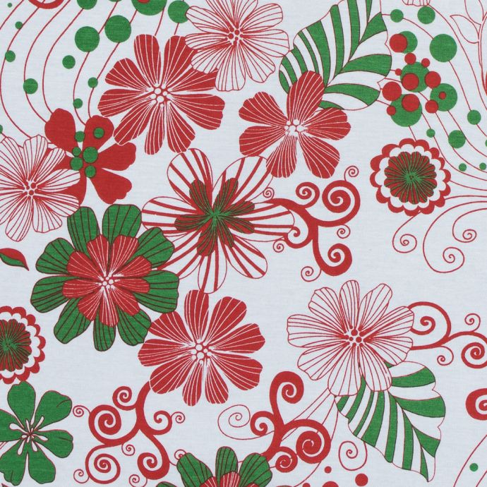 Red, Green and White Christmas-Spirited Floral Cotton Jersey