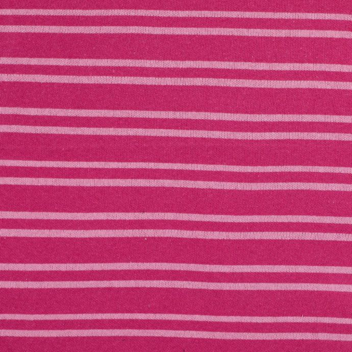Magenta Striped Cotton Double Knit