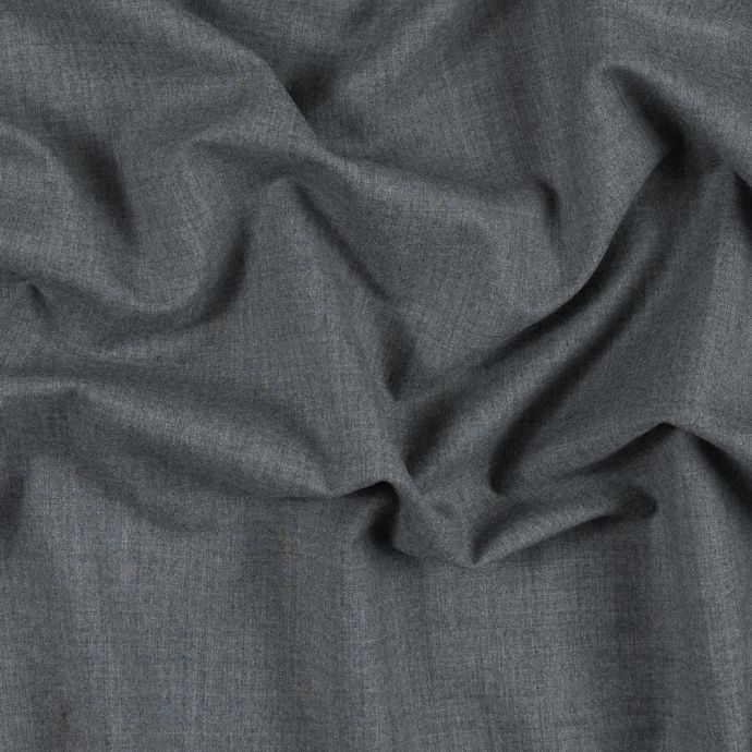 Italian Heathered Gray Stretch Wool Suiting