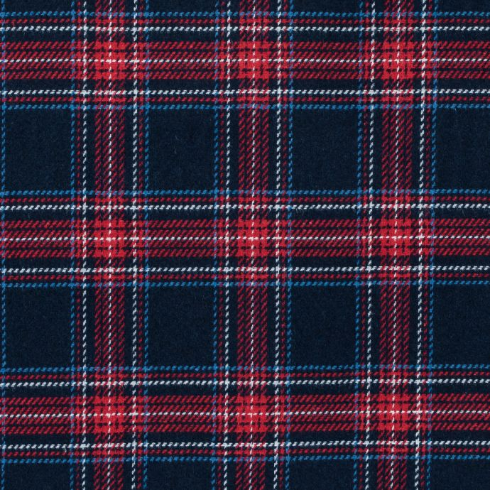 Italian Total Eclipse and Jester Red Plaid Wool Twill