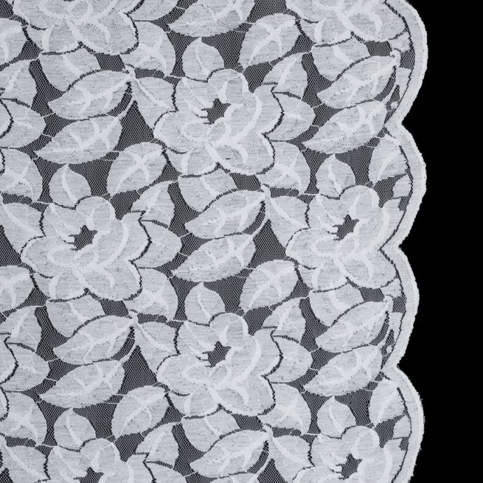Optic White Floral Lace with Scalloped Edges