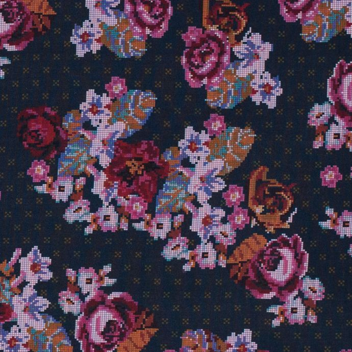 American Beauty, Nightshadow Blue and Tinsel Digital Flowers Printed on a Viscose Woven