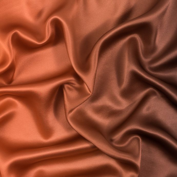Orange and Brown Ombre Silk Charmeuse
