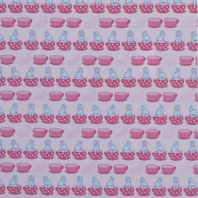 Blue Bunnies in Pink Teacups Printed on a Cotton Poplin
