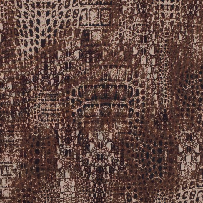 Toffee and Cornstalk Python Printed Double Faced Stretch Polyester Crepe