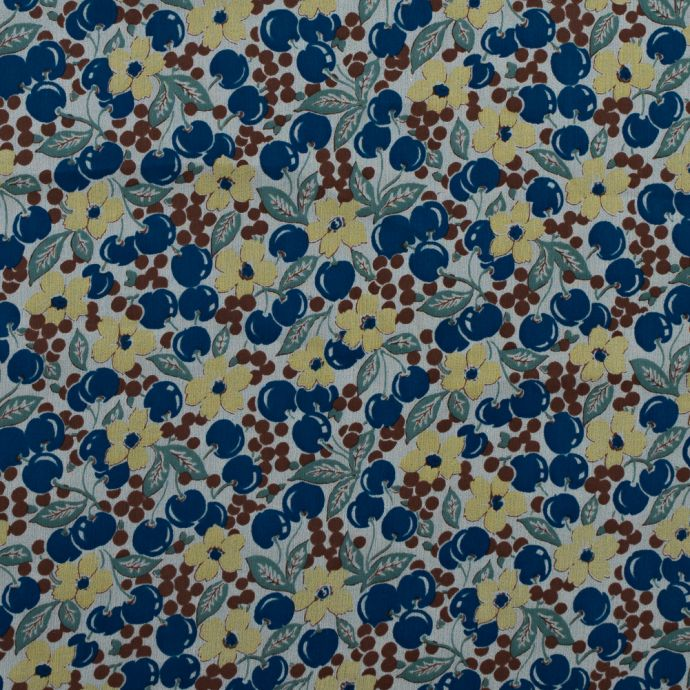 Famous NYC Designer Blueberries and Floral Printed Silk Chiffon