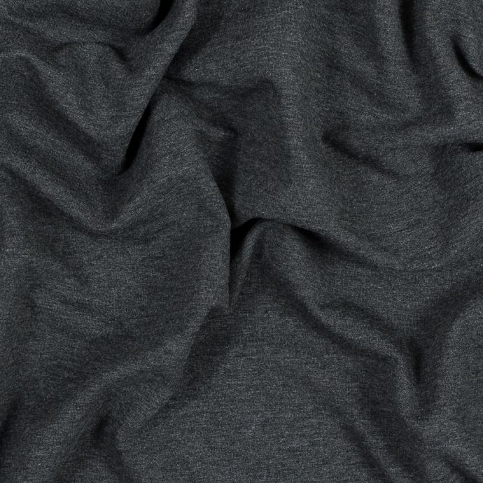 Heather Charcoal Bamboo and Cotton Stretch Knit Fleece