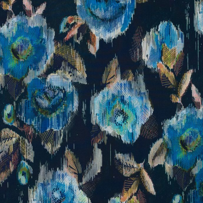 Italian Blue and Green Floral Printed Jersey