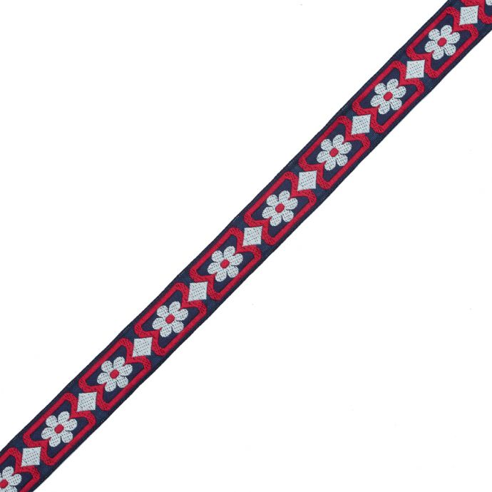 Red, White and Blue Floral German Jacquard Ribbon - 1