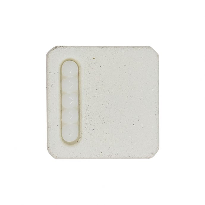 White Square with Molded Decoration 2-Piece Shank Back Plastic Button - 44L/28mm