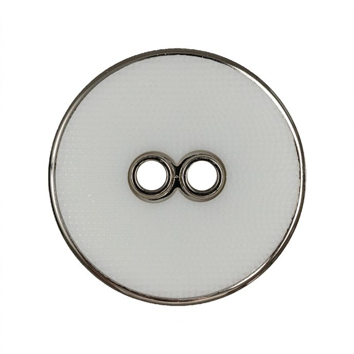 White and Silver Wavy Textured 2-Hole 2-Piece Button - 44L/28mm