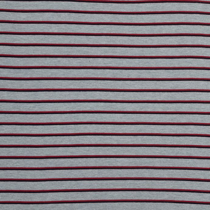 Gray, Red and Navy Shadow Striped Brushed Fleece