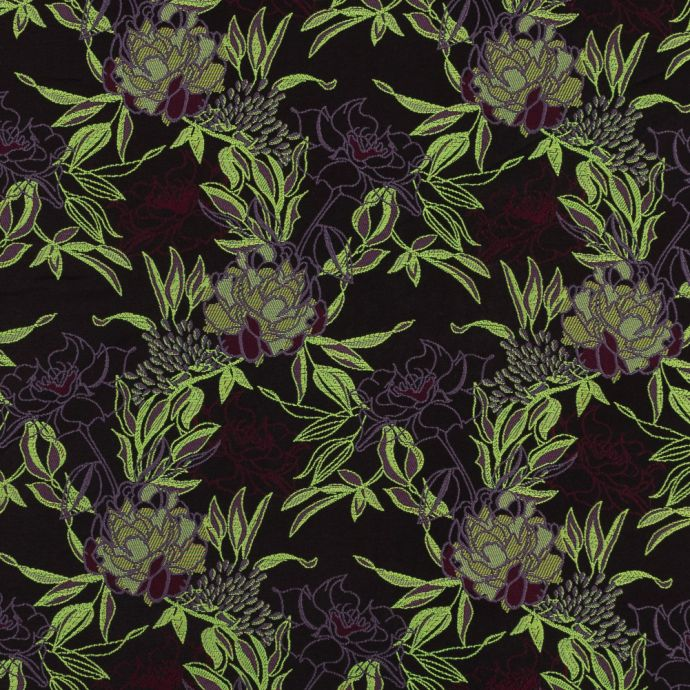 Neon Green, Maroon and Lavender Floral Jacquard