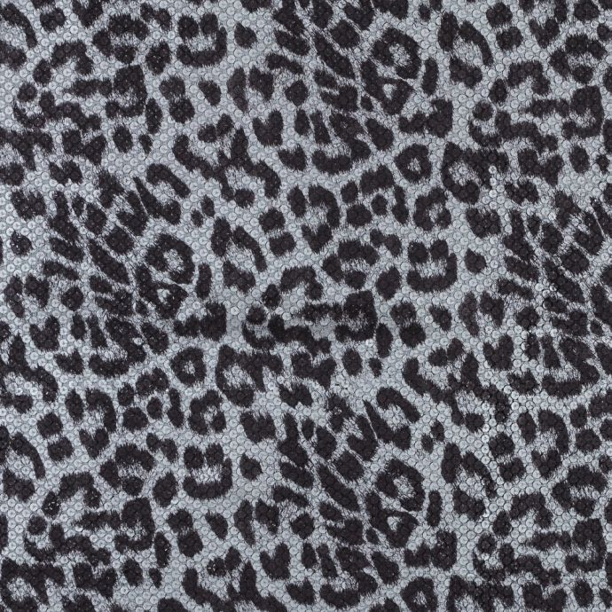 Circle Sequins with a Snow Leopard Top Foil and a Black Knit Backing
