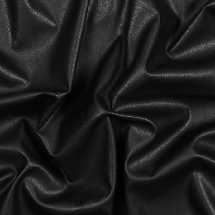 Black Stretch Faux Suede Backed Faux Leather