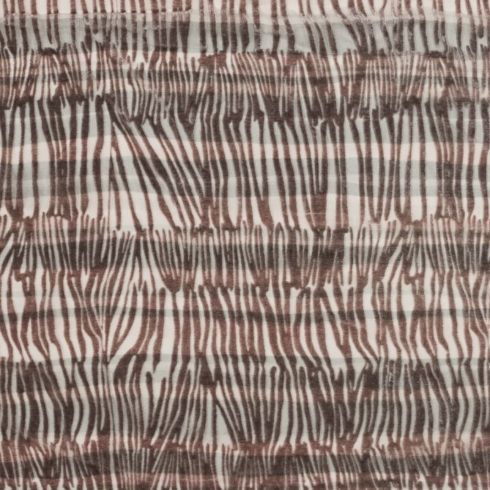 Pink and Gray Zebra Striped Silk and Rayon Burnout Velvet