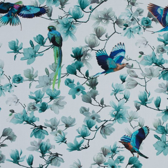 Blue and White Organic Viscose Batiste with Flowers and Birds
