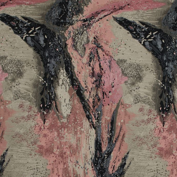 Pink, Beige and Black Abstract Jacquard