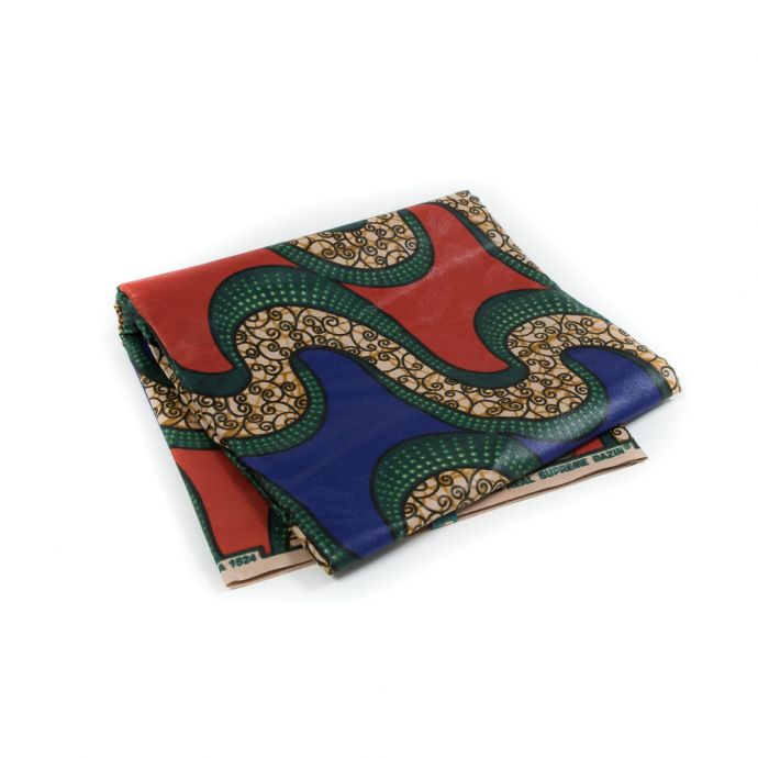 Royal Blue and Burnt Orange Waxed Cotton African Print with additional Inlaid Pattern