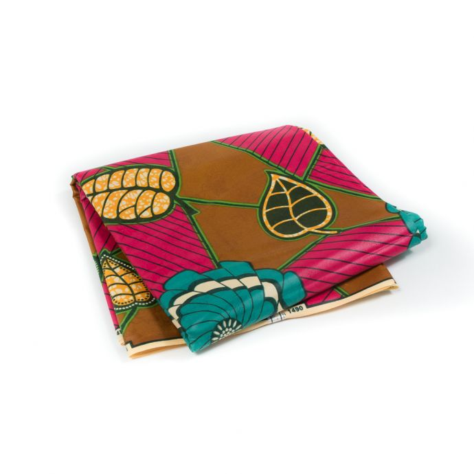 Pink and Gold Waxed Cotton African Print with additional Inlaid Pattern