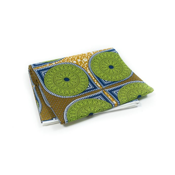 Green, Blue and Mustard Medallions Waxed Cotton African Print