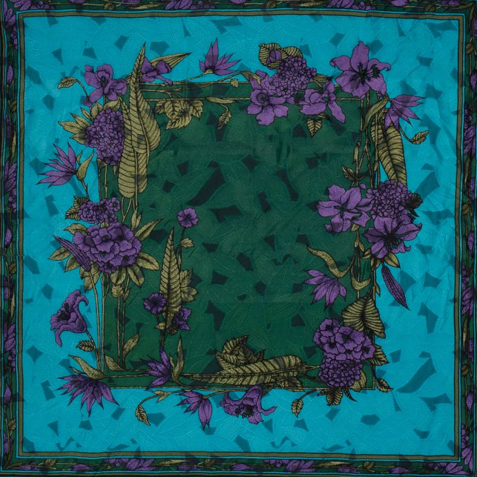 Famous NYC Designer Blue, Green and Purple Floral Silk Burnout Panel