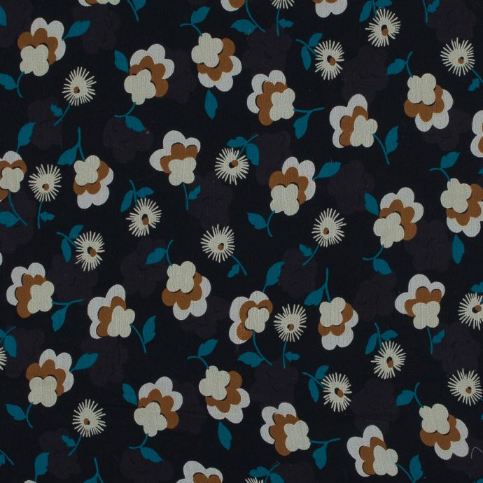 Famous NYC Designer Blue and Brown Floral Crinkled Silk Chiffon