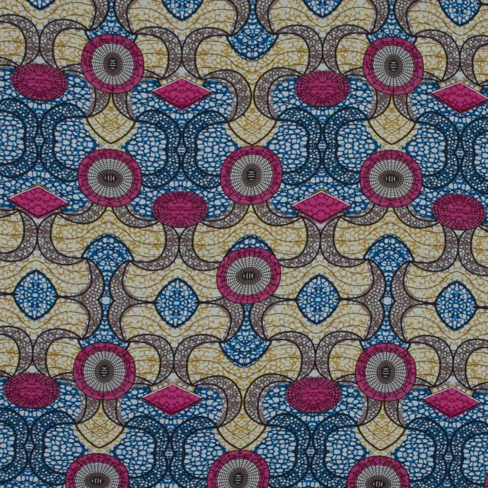 Italian Pink, Blue and Mustard African Printed Cotton Voile
