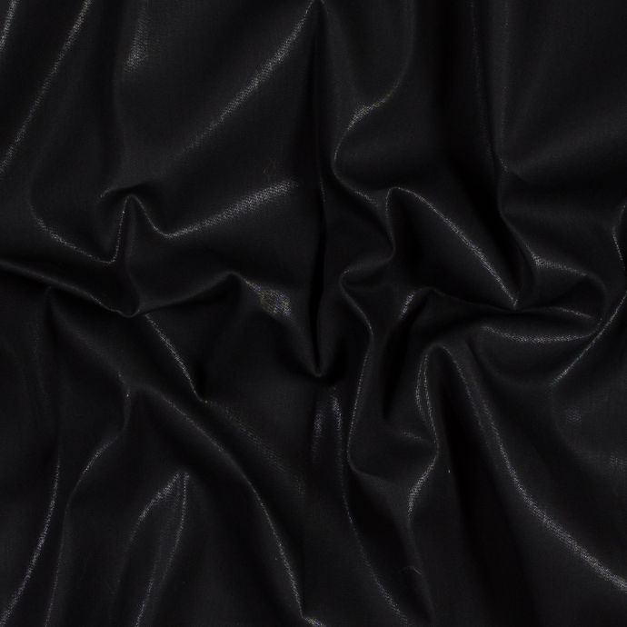 Italian Black Cotton Denim with a Shimmering Laminate Top-Coat