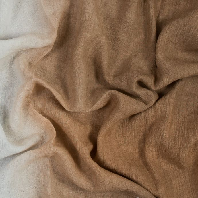 Brown into White Ombre Crinkled Linen Woven